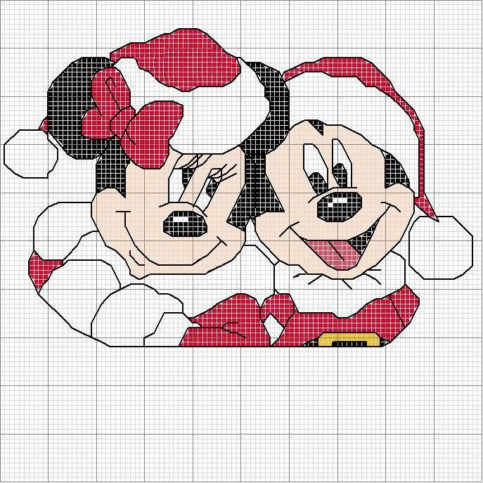 Minnie and Mickey Navidad | Disney Sticken | Kreuzstich, Kreuze und ...