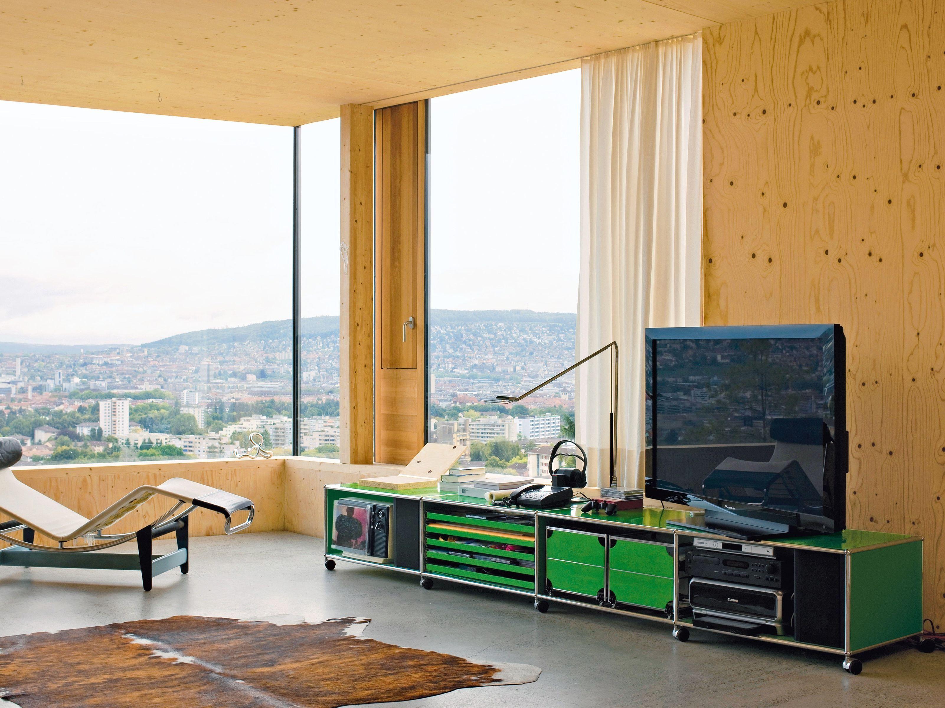 usm haller lowboard as media unit sideboard by usm modular furniture design fritz haller tv. Black Bedroom Furniture Sets. Home Design Ideas