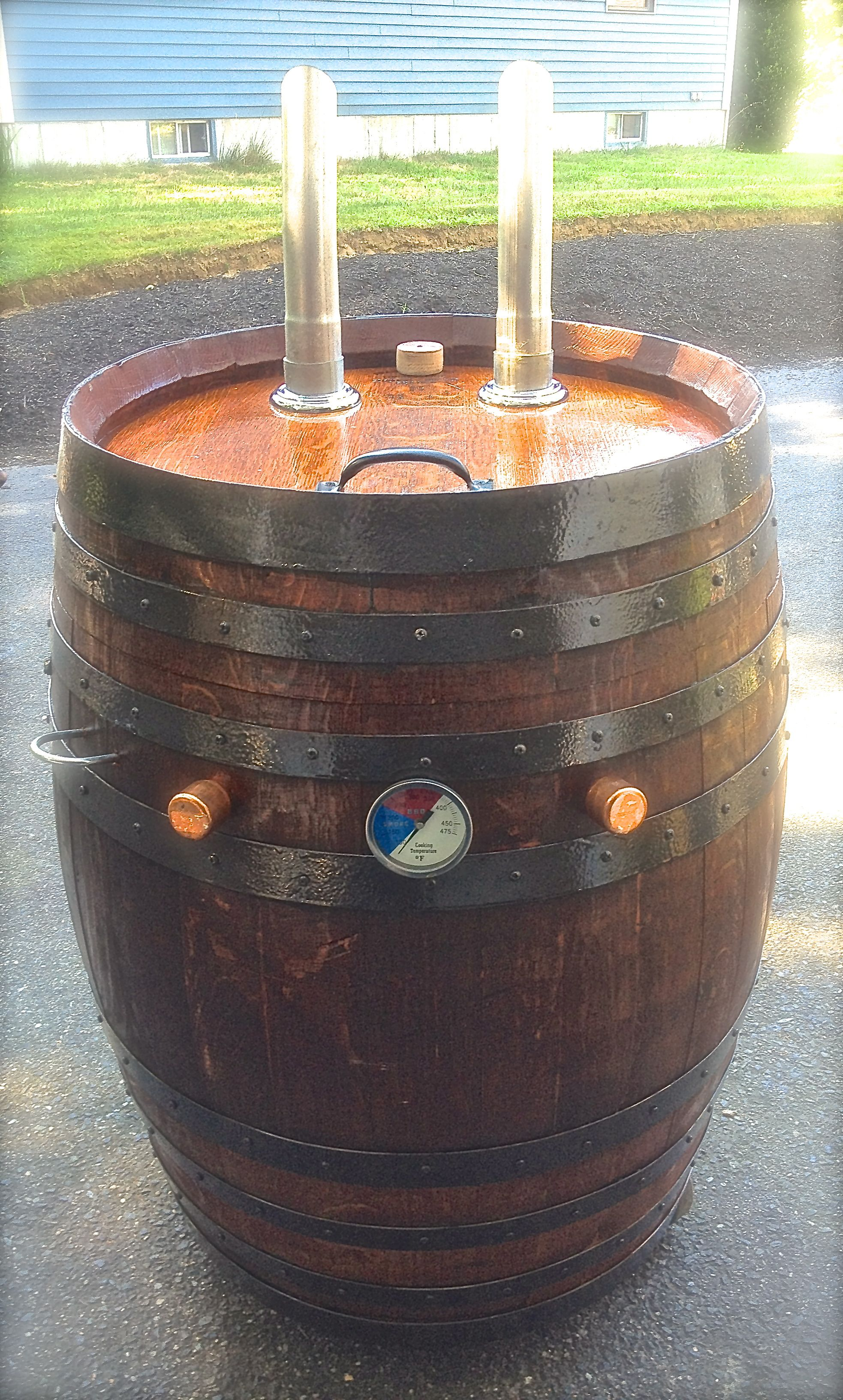 55 Gallon, Red Wine Cured, Oak Barrel Smoker ...
