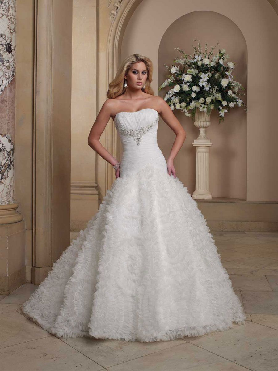 Pleated bodice curved neckline ball gown wedding dress happily