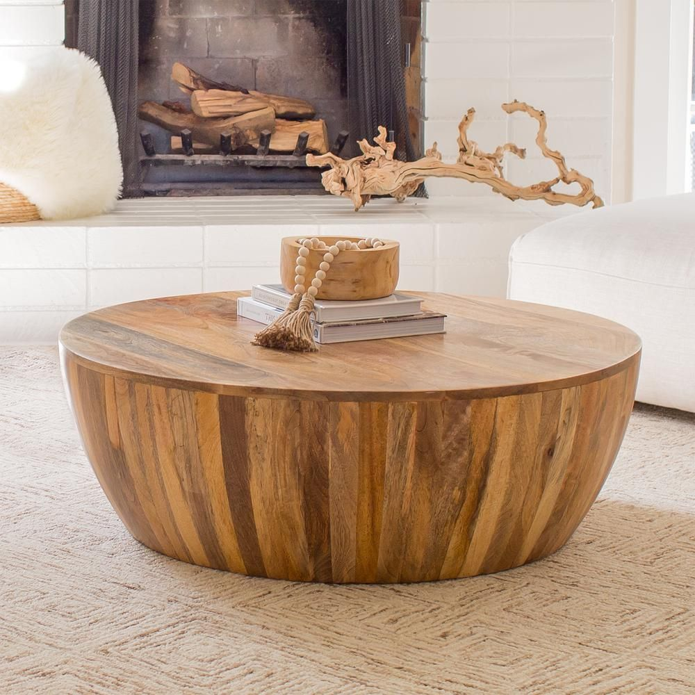 Poly And Bark Goa 36 In Natural Medium Round Wood Coffee Table Hd Lr 571 Nat The Home Depot Round Wood Coffee Table Coffee Table Drum Coffee Table [ 1000 x 1000 Pixel ]