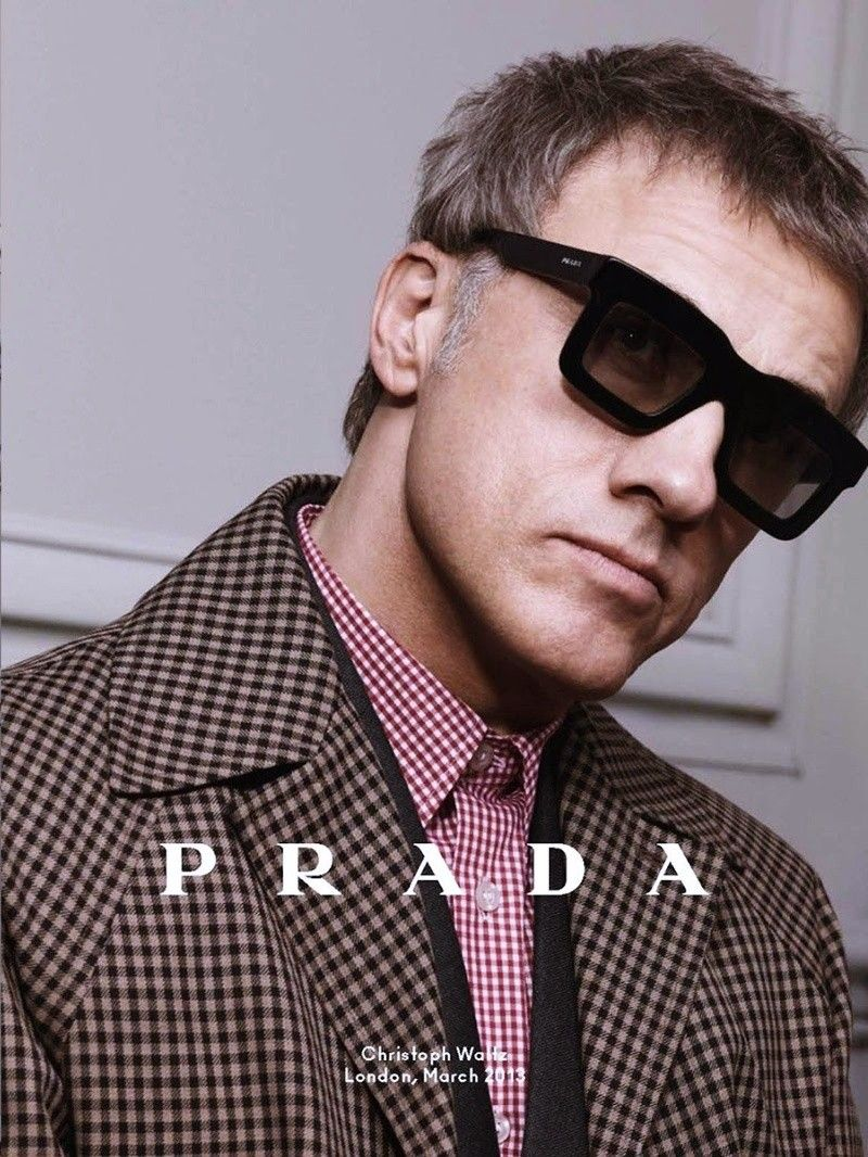 christoph waltz wears prada spr01qs sunglasses in the prada eyewear for men fall winter 2013 14. Black Bedroom Furniture Sets. Home Design Ideas