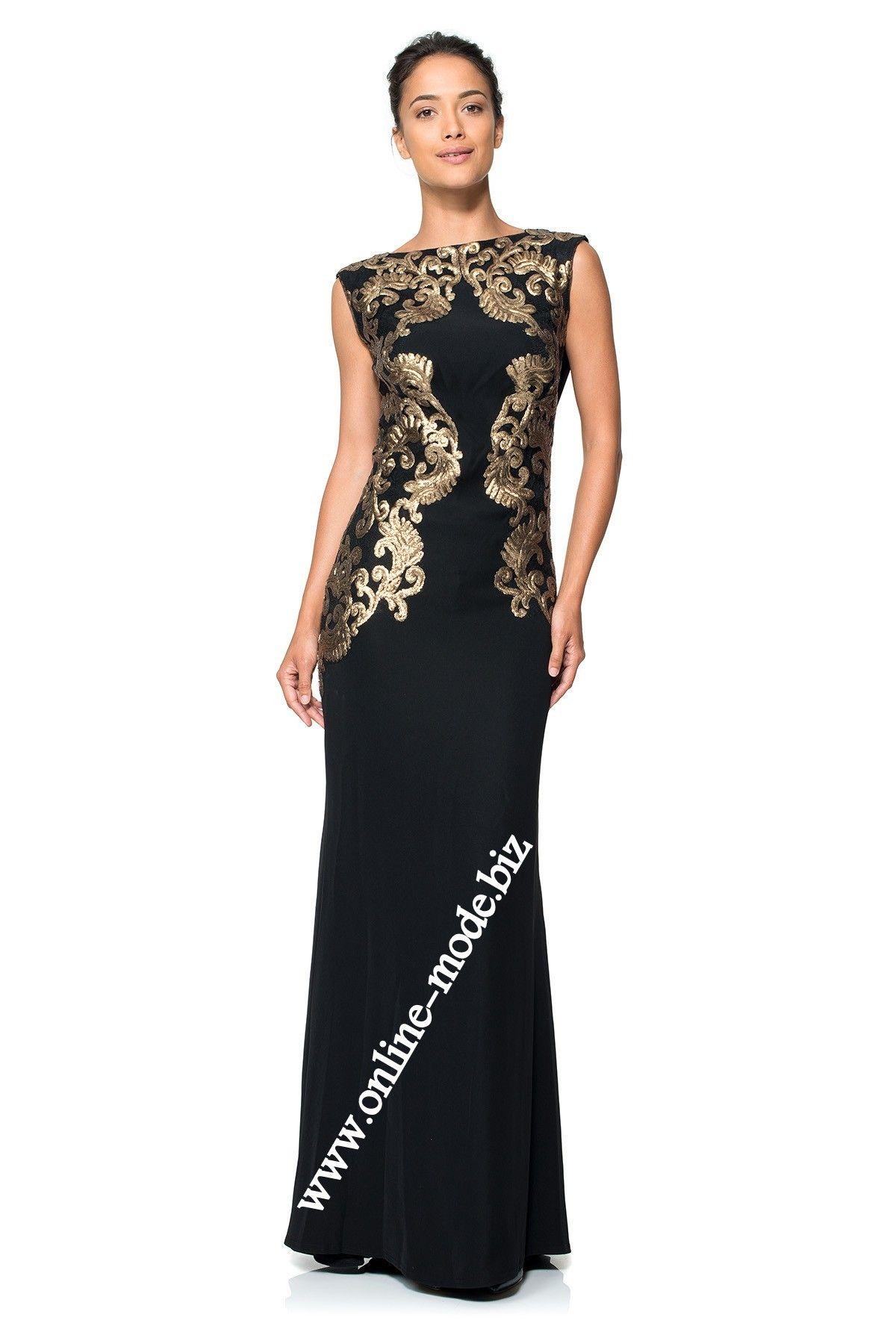 Schwarzes Etui Abendkleid mit Gold Stick  Abendkleid, Kleider