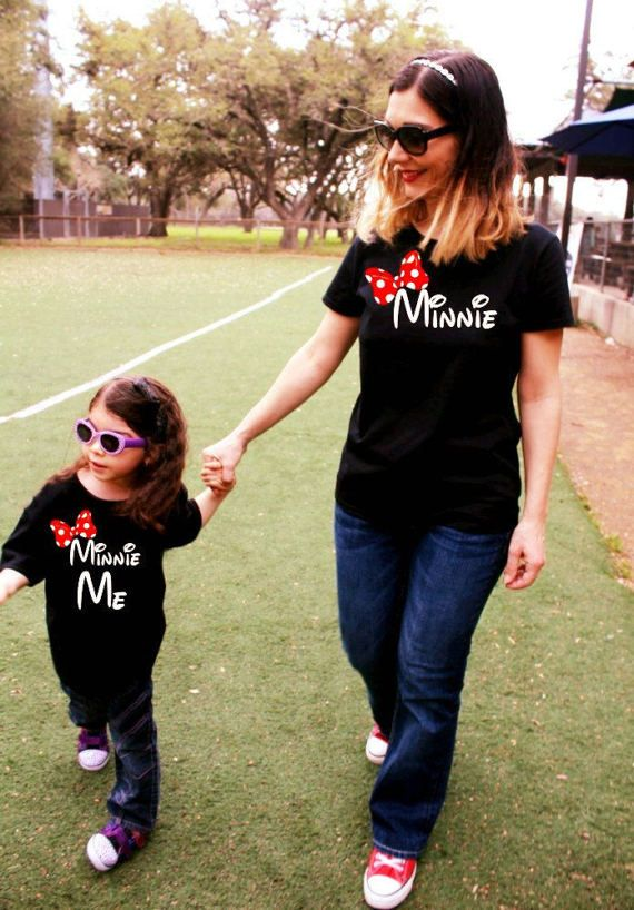 2 shirts Mommy and Me Minnie and Minnie Me White Shirt Combo Set Free Shipping!
