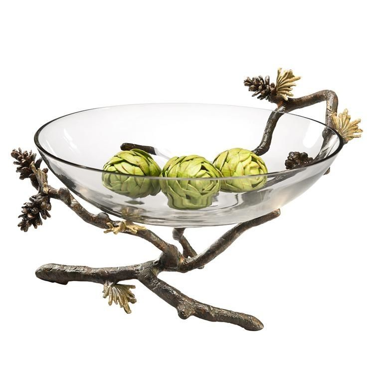 "Large Glass Decorative Bowls Pinecone Branch Large Glass Bowl Nature Decorative Bowl 14""w X 9"