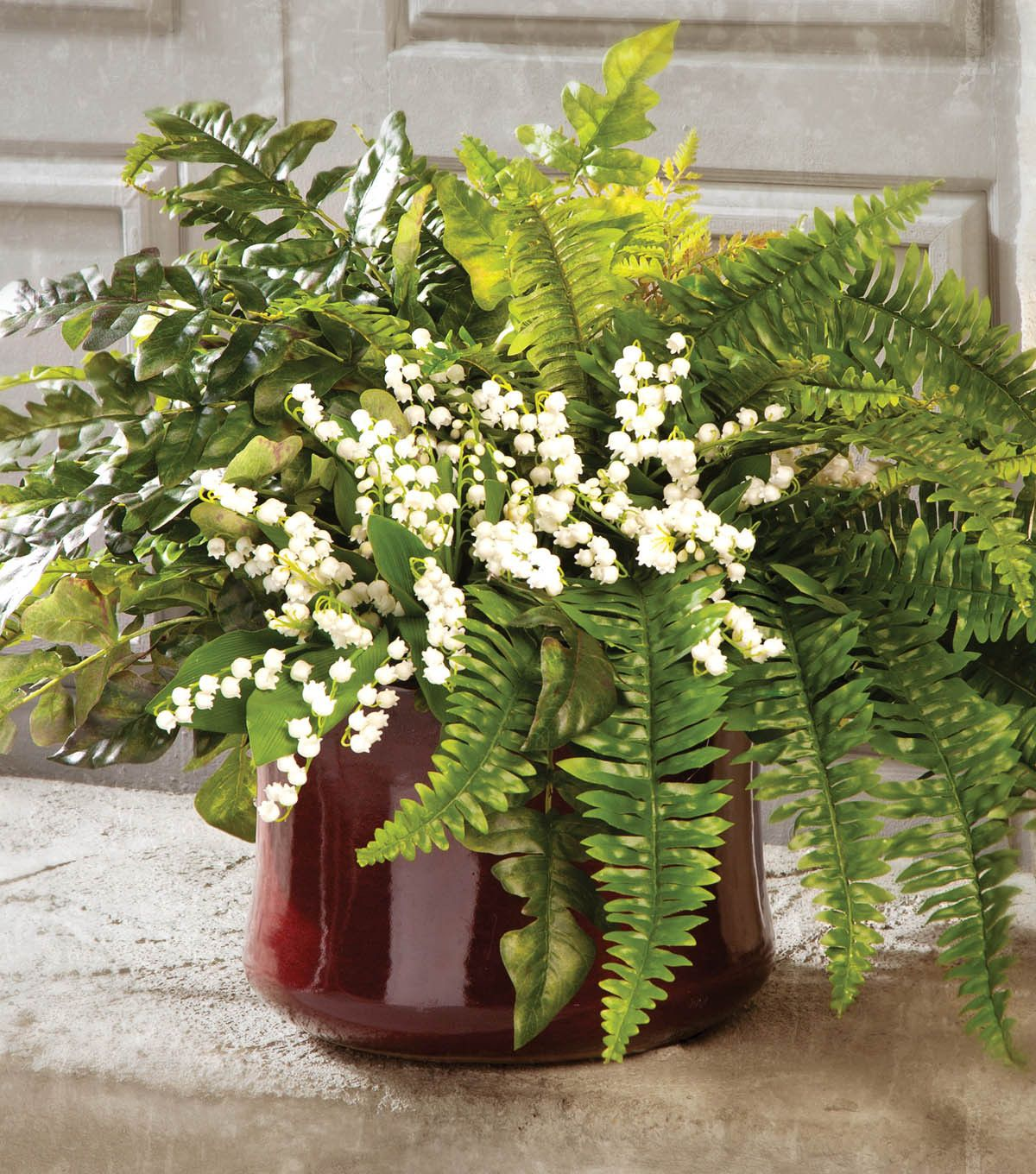 Lily Of The Valley Wedding Flowers: Potted Ferns With Lily Of The Valley Centerpiece