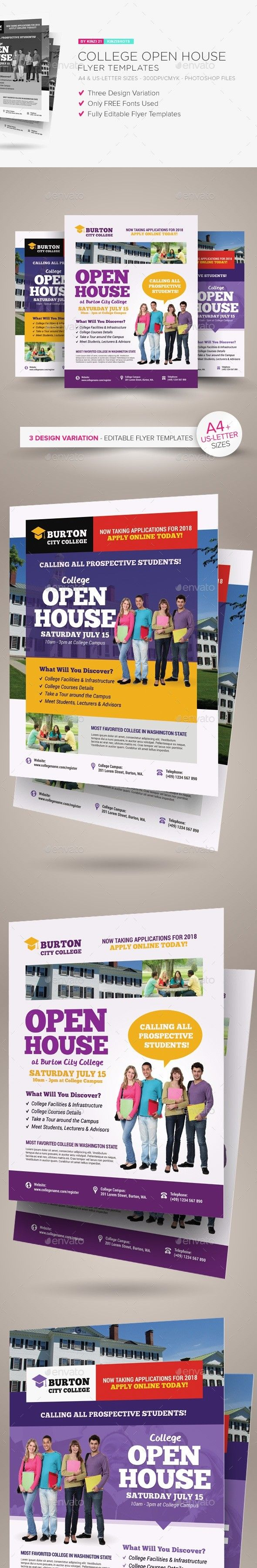 College Open House Flyer Templates Pinterest Flyer Template And