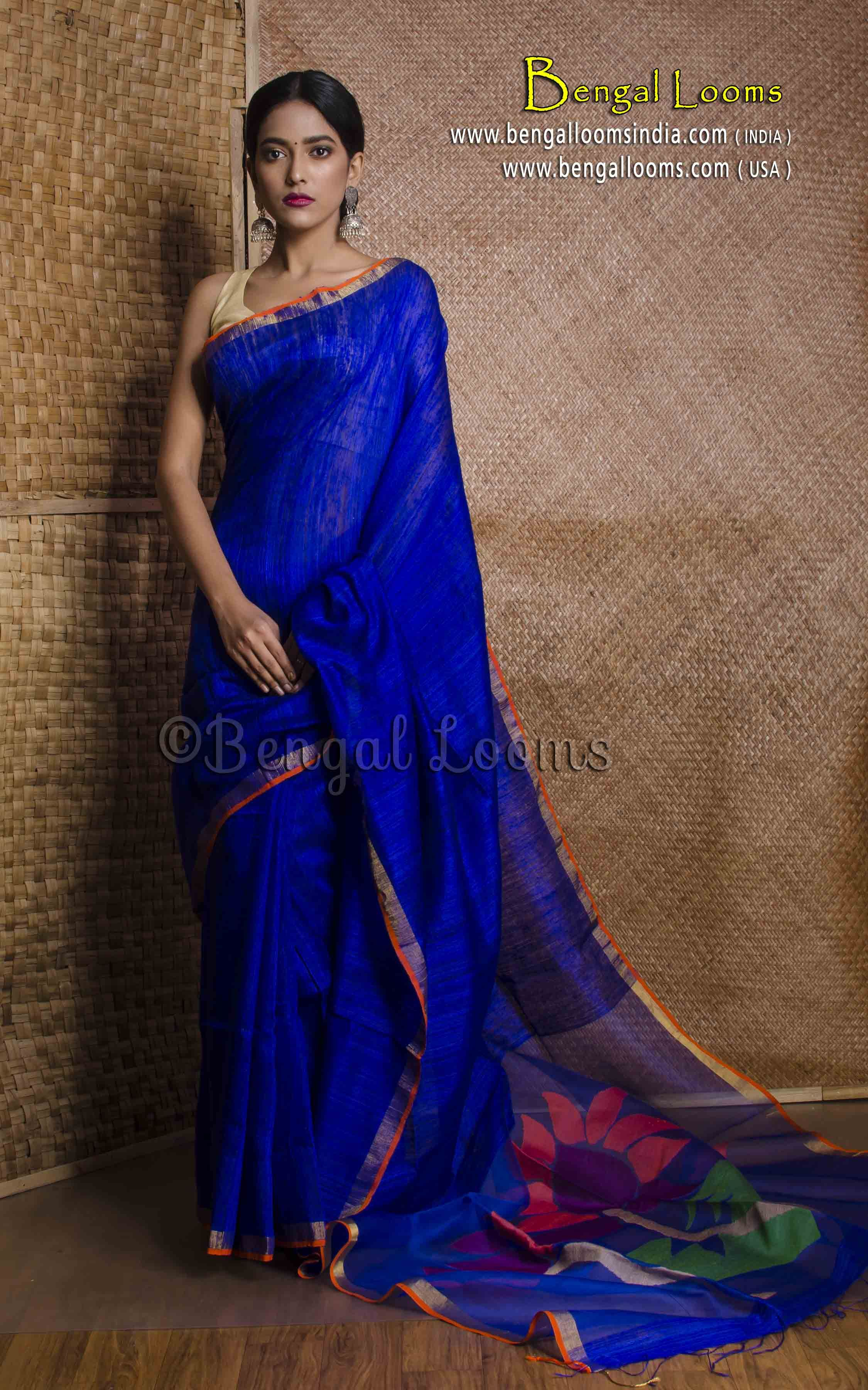 02b5b61c0606e1 Pure Handloom Khadi Tussar Silk Saree with Resham Pallu in Royal Blue