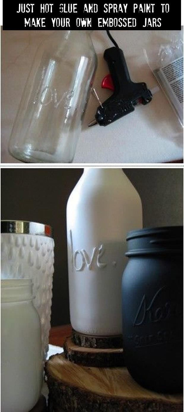 Use Hot Glue And Spray Paint To Make Your Own Embossed Jars Pictures, Photos,…