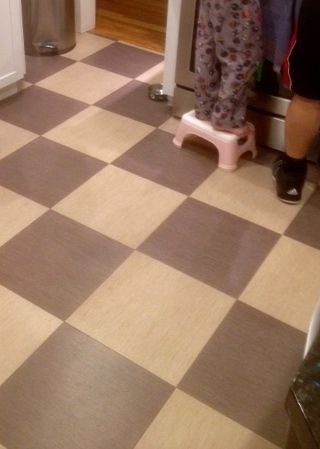 Luxury Vinyl Tile Floor From Mannington In Gray And Cream Checkerboard Pattern With Wood Look