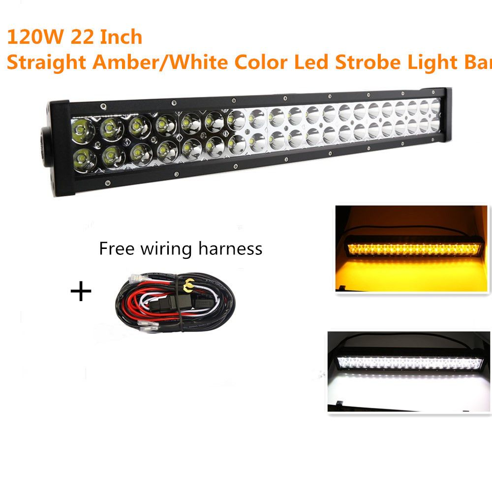 Straight 120w 22 Led Light Bar Flash Amber White Spot Flood Wiring Work Lights Combo Fog Driving With Harness 12000lm For 4x4 Off Road Lamp Jeep