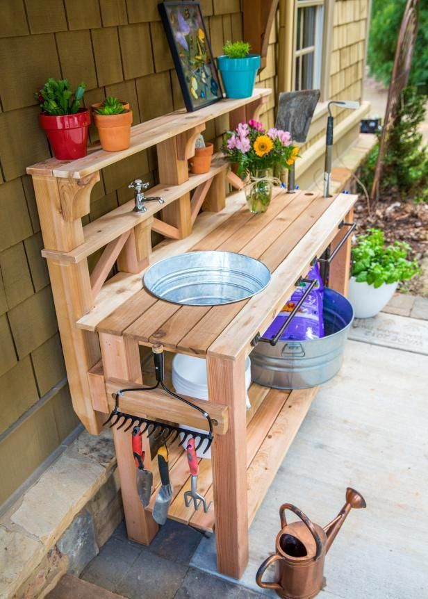 Learn How To Build A Custom Work Table For Your Gardening And Outdoor Chores We Outfitted This B Garden Tool Storage Pallet Garden Benches Potting Bench Plans