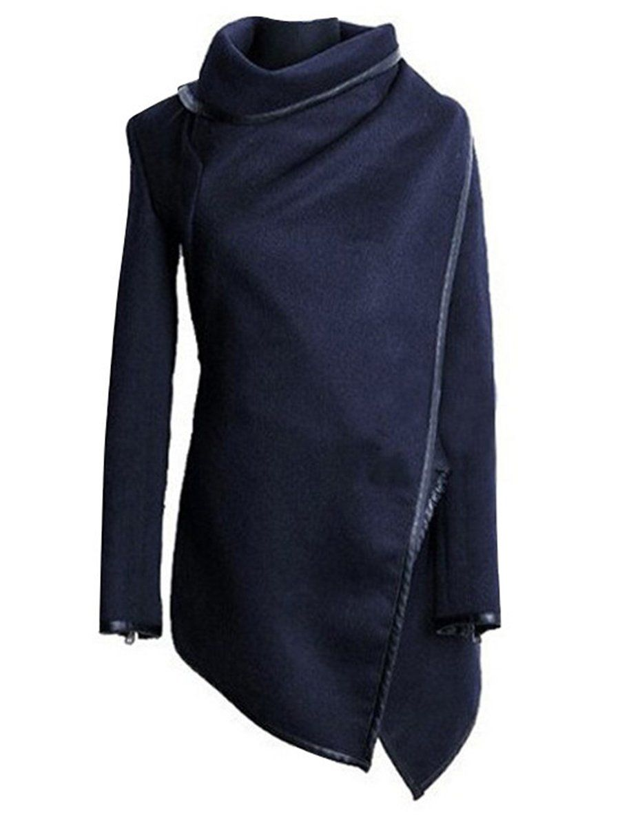 Blue High Neck Front Wrapped Trench Coat – Aqilabuy c183ee00320