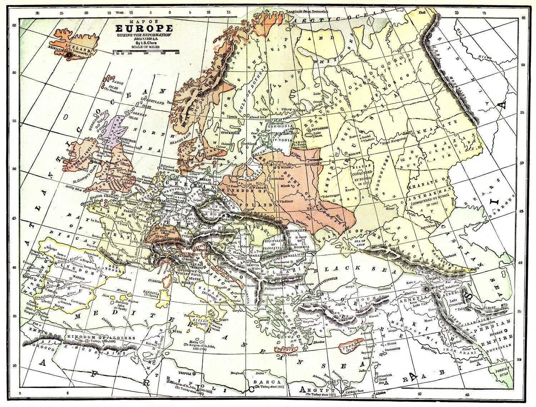 Map Of Europe 1550 Europe Map European History Map