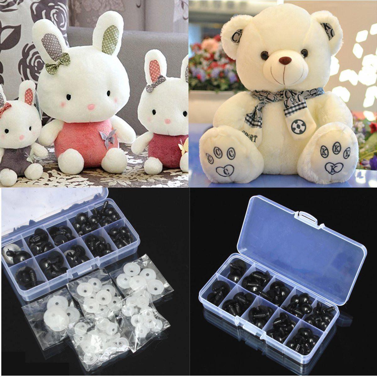 6-20mm Black Plastic Safety Eyes For Teddy Bear Dolls Toy Animal Crafts DIY