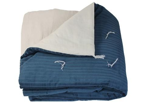 en fil dindienne plaid jet lit courtepointe en velours ray veluti bleu canard 160x160 cm. Black Bedroom Furniture Sets. Home Design Ideas
