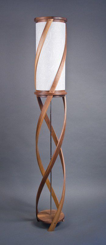The Tango Floor Lamp Bent Laminated Walnut White By Castlewerks