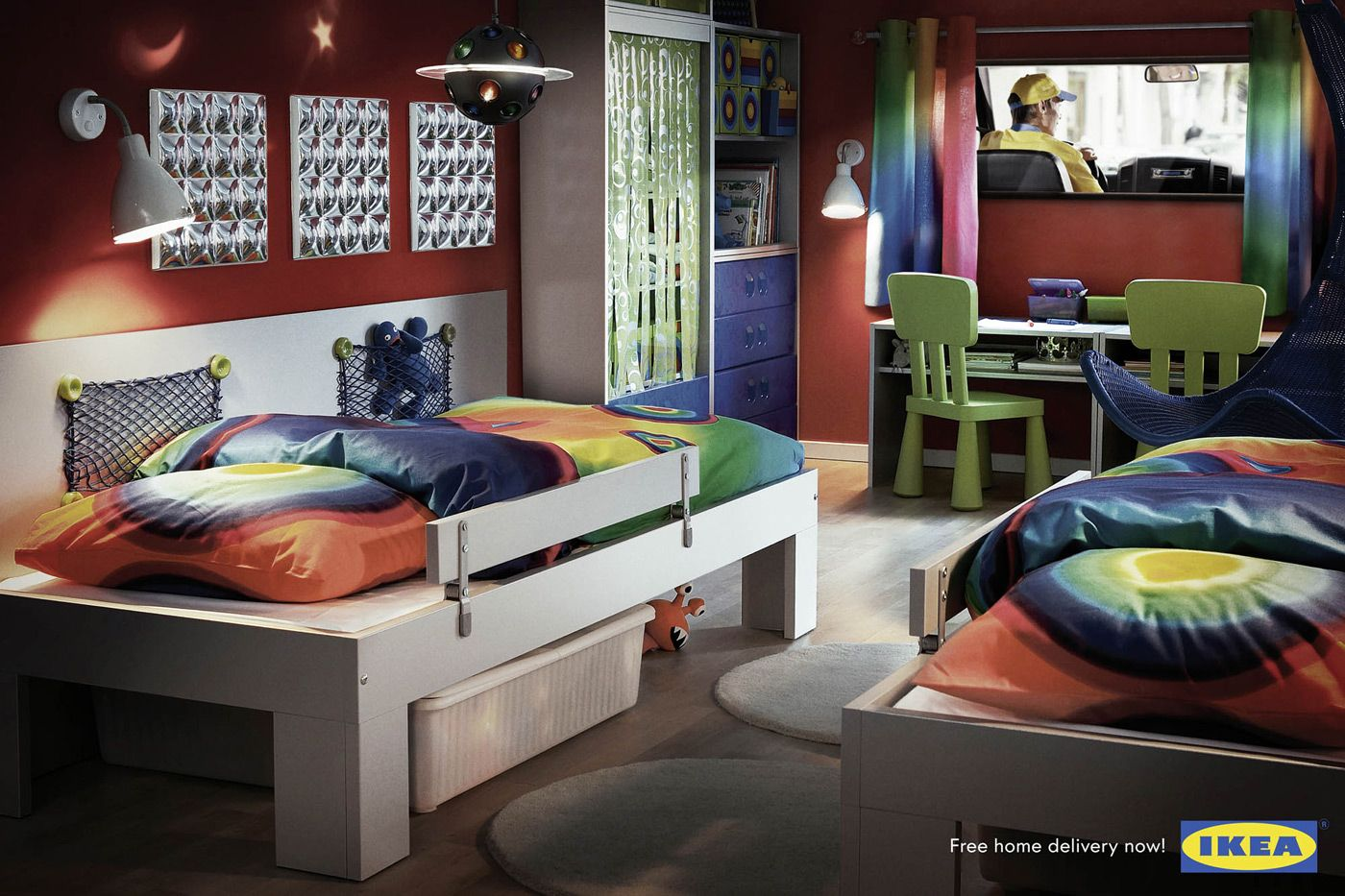 cool idea for illusion mural love the bedside storage idea ikea shared kids room