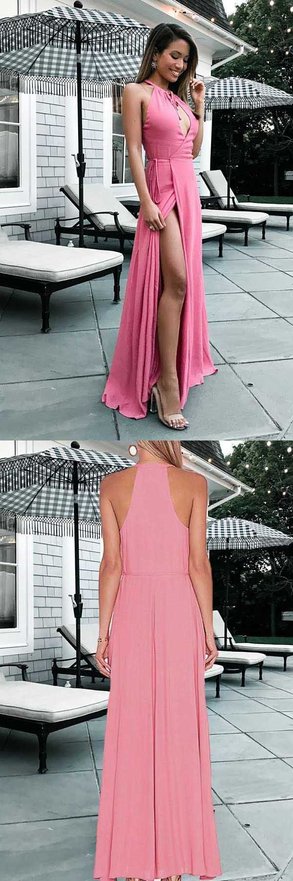 Custom Made Enticing Pink Prom Dresses A-Line Round Neck Floor ...