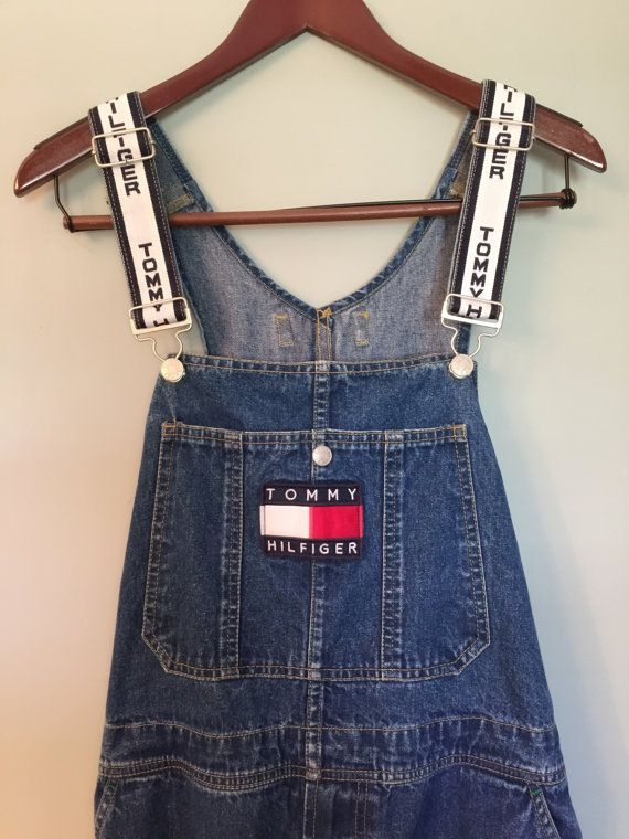 d5474e0c372 Vintage 90 s Tommy Hilfiger denim carpenter overalls white straps with logo  big…