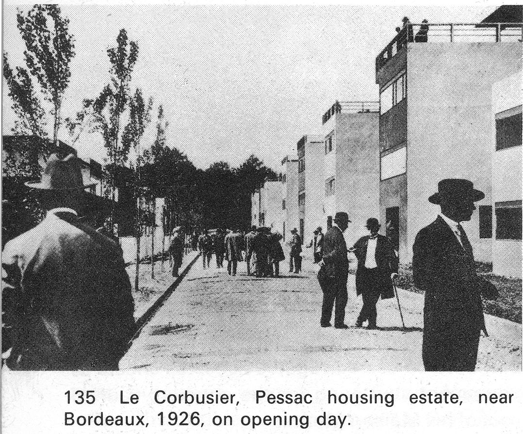Pessac on opening day, 1926 (from Frampton)