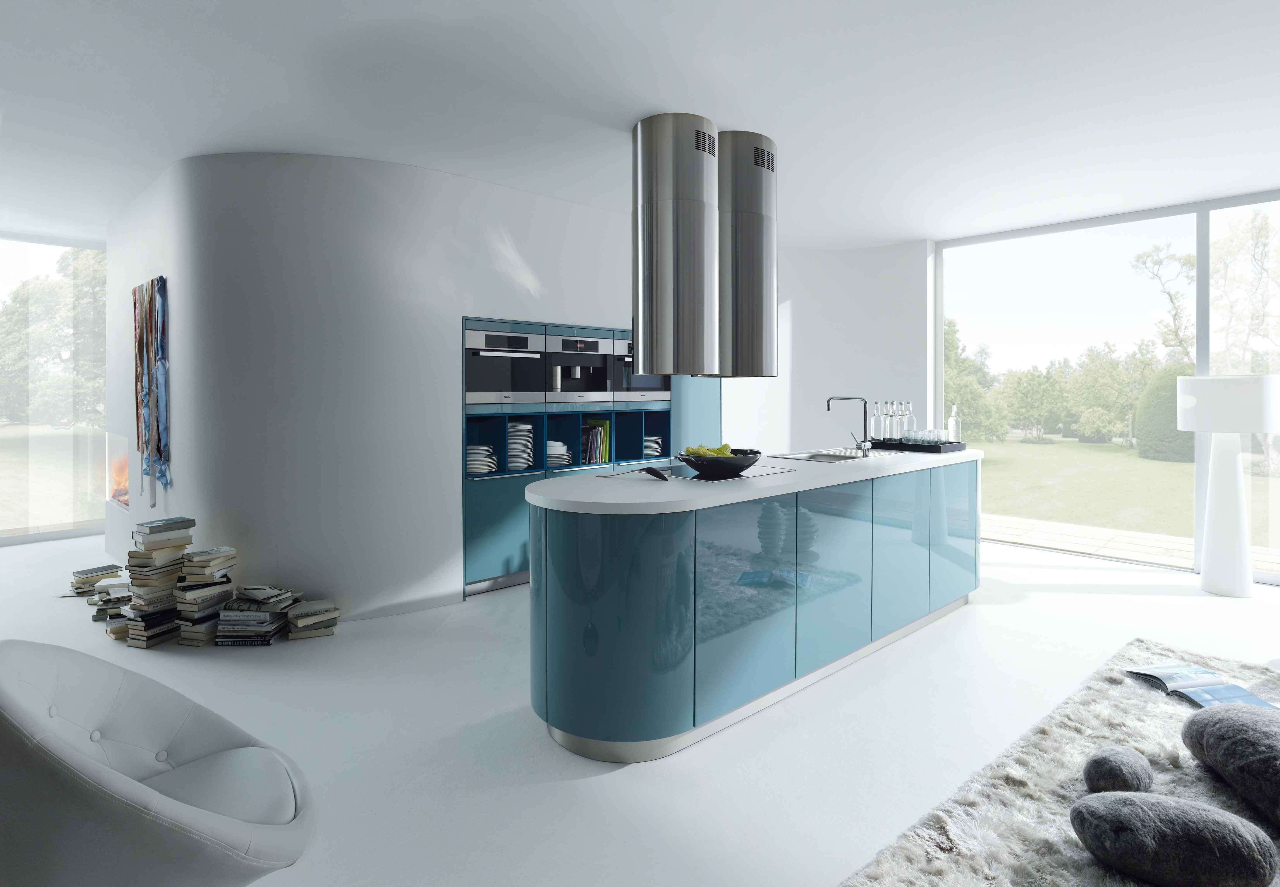 Rounded edges soften the look of the kitchen and the high gloss ...
