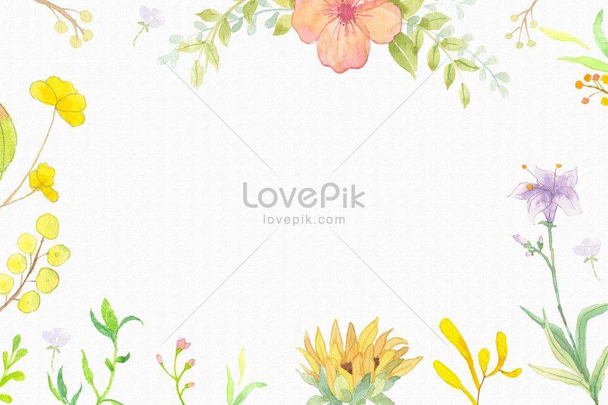 Elegant Watercolor Flowers Frame Background Flower Background