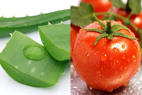 dưỡng trắng da mặt bằng nha đam và cà chua
