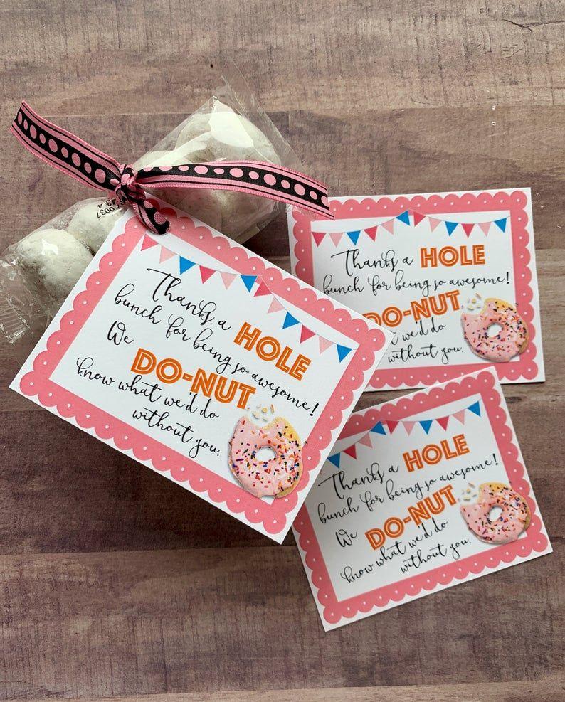 Instant download donut appreciation printables holes thank