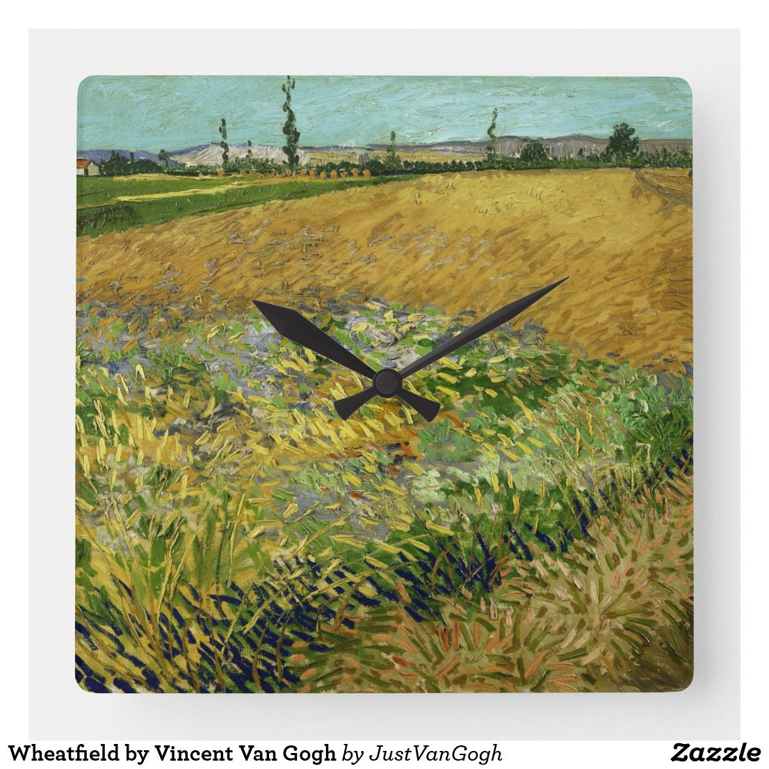 Wheatfield By Vincent Van Gogh Square Wall Clock Zazzle