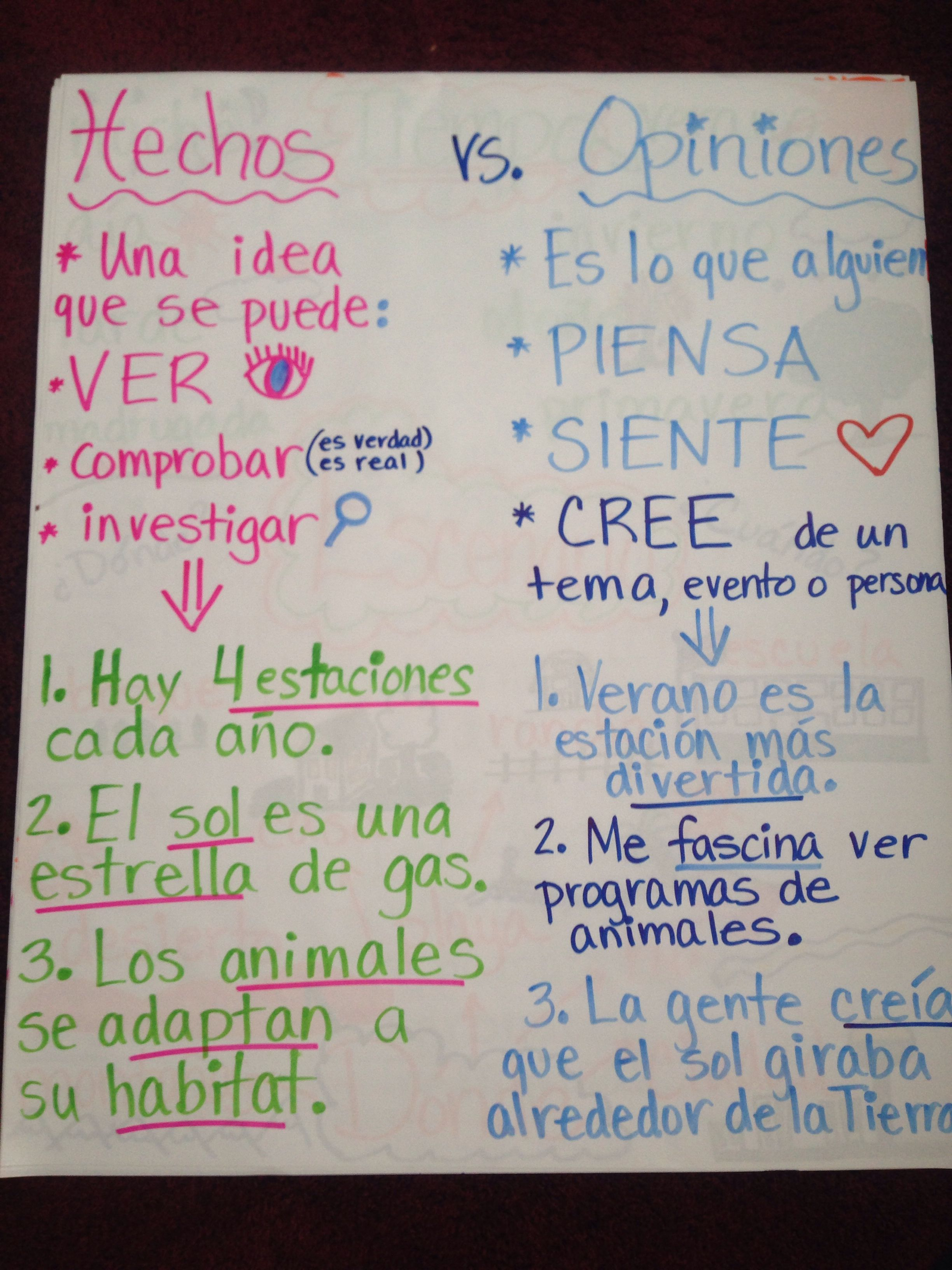 hechos y opiniones spanish anchor charts pinterest. Black Bedroom Furniture Sets. Home Design Ideas