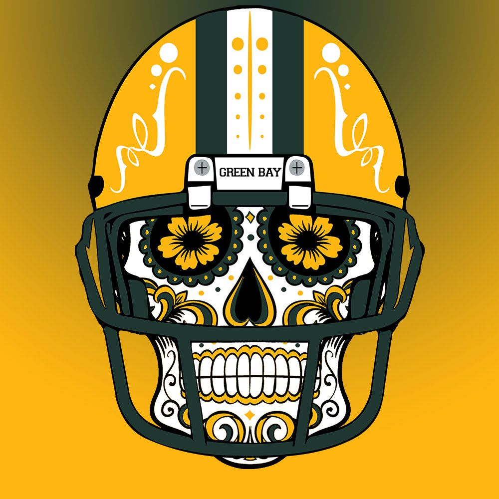 Green Bay Packers Custom NFL Sugar Skull (calavera) Tees and Hoodies! by  CustomClothingShop on Etsy 47d7c7ef2