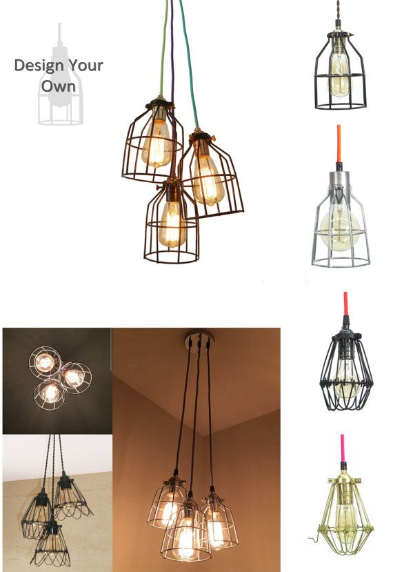 3 cage pendant light fixture custom cage choices black antique brass steel any colored cords industrial lighting