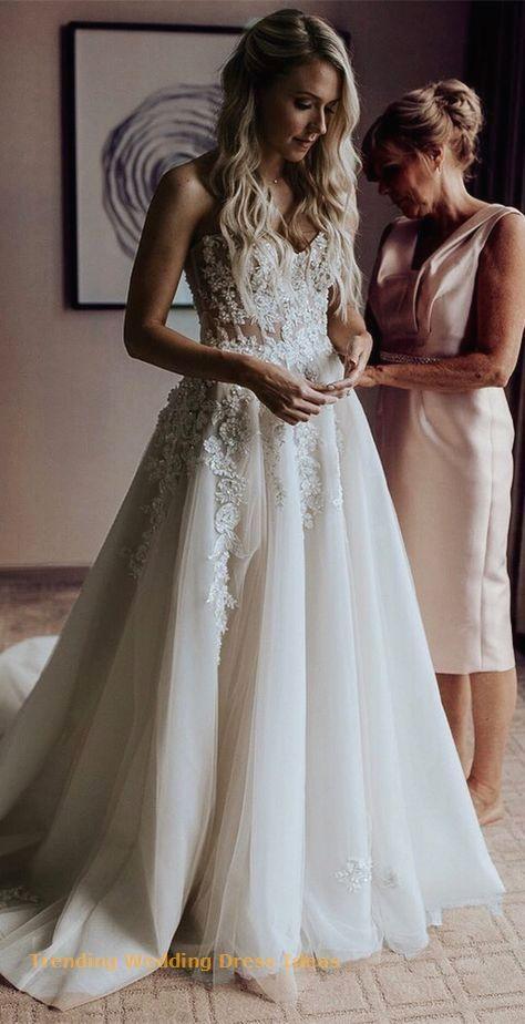 A-Line Sweetheart Sweep Train Wedding Dress with… #bohoweddingdress