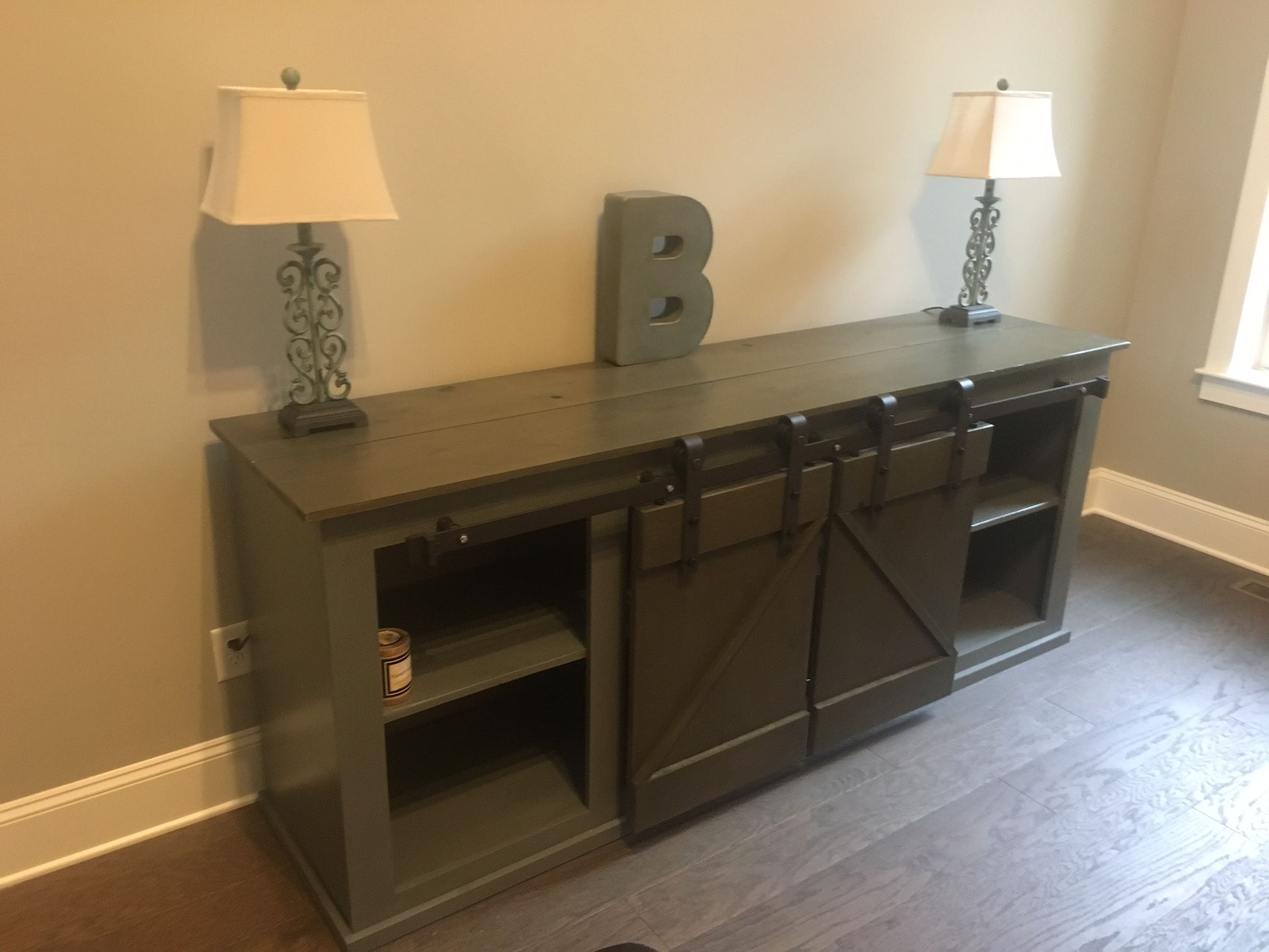 Sliding barn door media cabinet do it yourself home projects from ana white