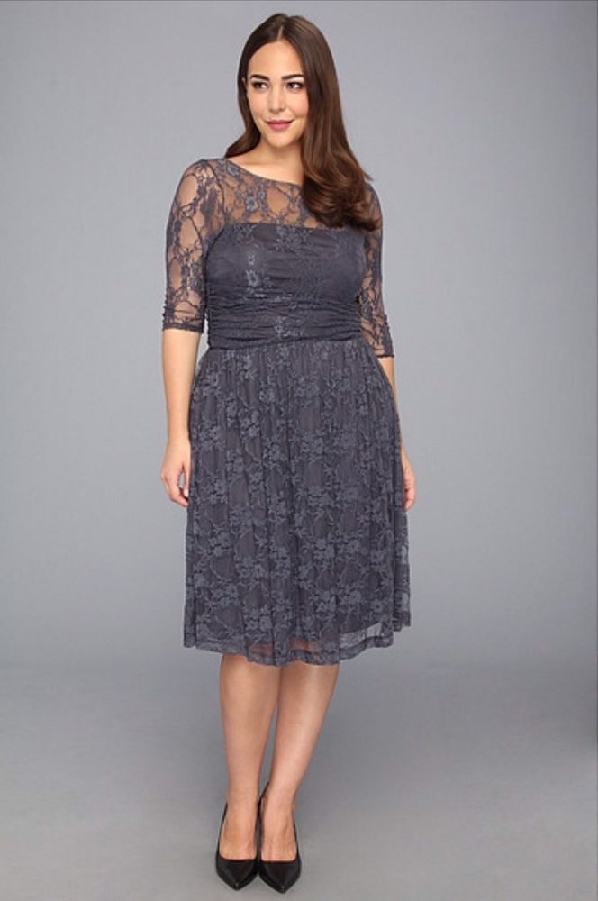NWT Kiyonna Plus Sz scalloped Luna Lace Dress Gray 1X Mother Bride ...
