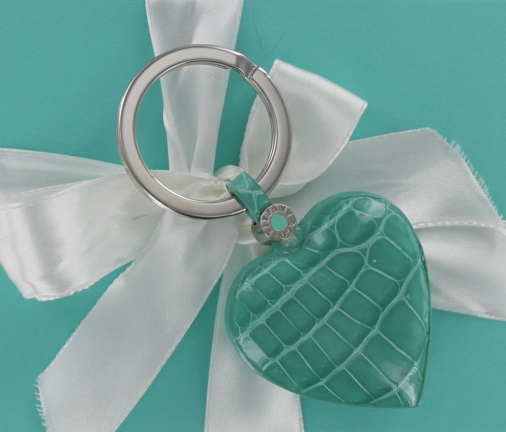 d1b84b6ef NEW RARE RETIRED Tiffany & Co. Blue Crocodile Leather Heart Key Ring Box  Ribbon #Tiffany