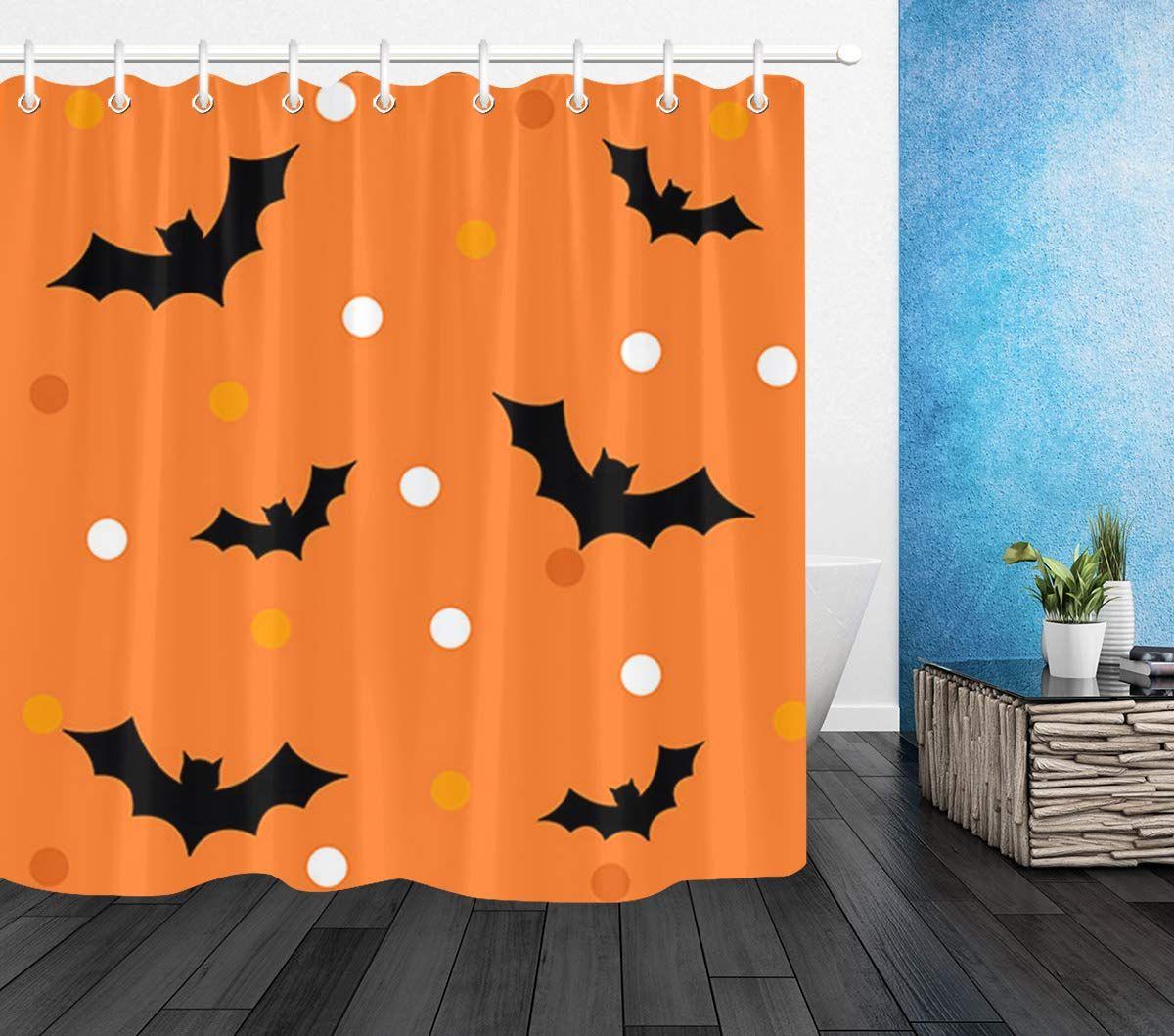 Lb Simple Design Black Bat Shower Curtain Set For Bathrooms Black