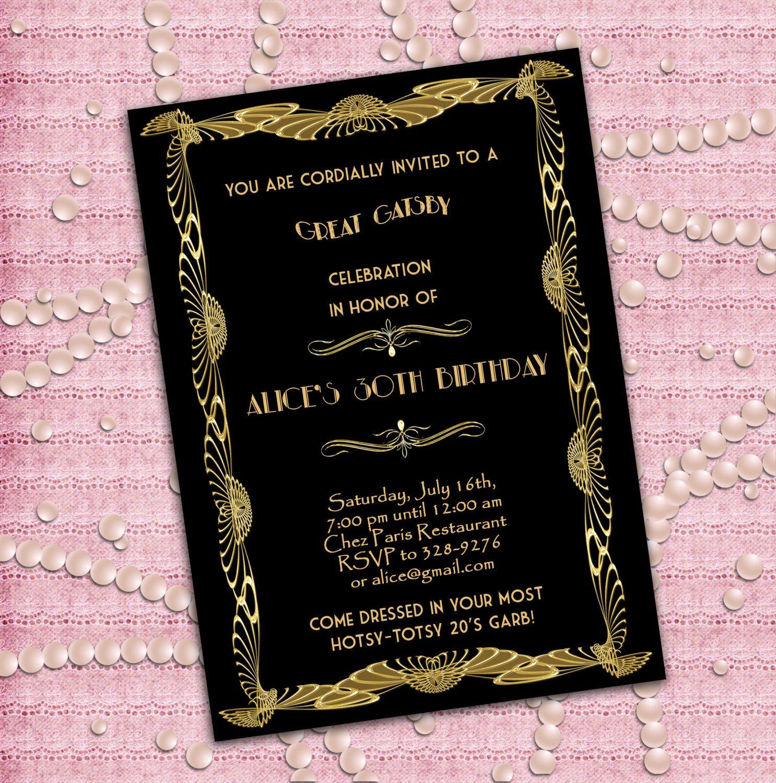 Great Gatsby Style Art Deco Birthday Party Invitation 21st 30th