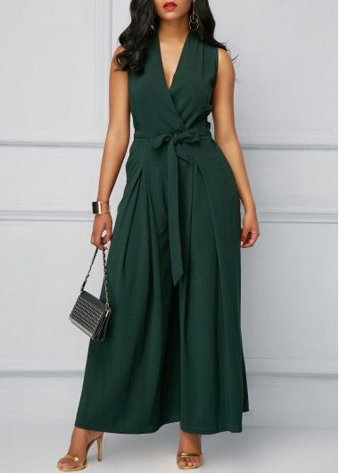 Sexy Jumpsuits and Rompers For Club, Evening Cocktail Party Page 2 - Sleeveless V Neck Blackish Green Jumpsuit