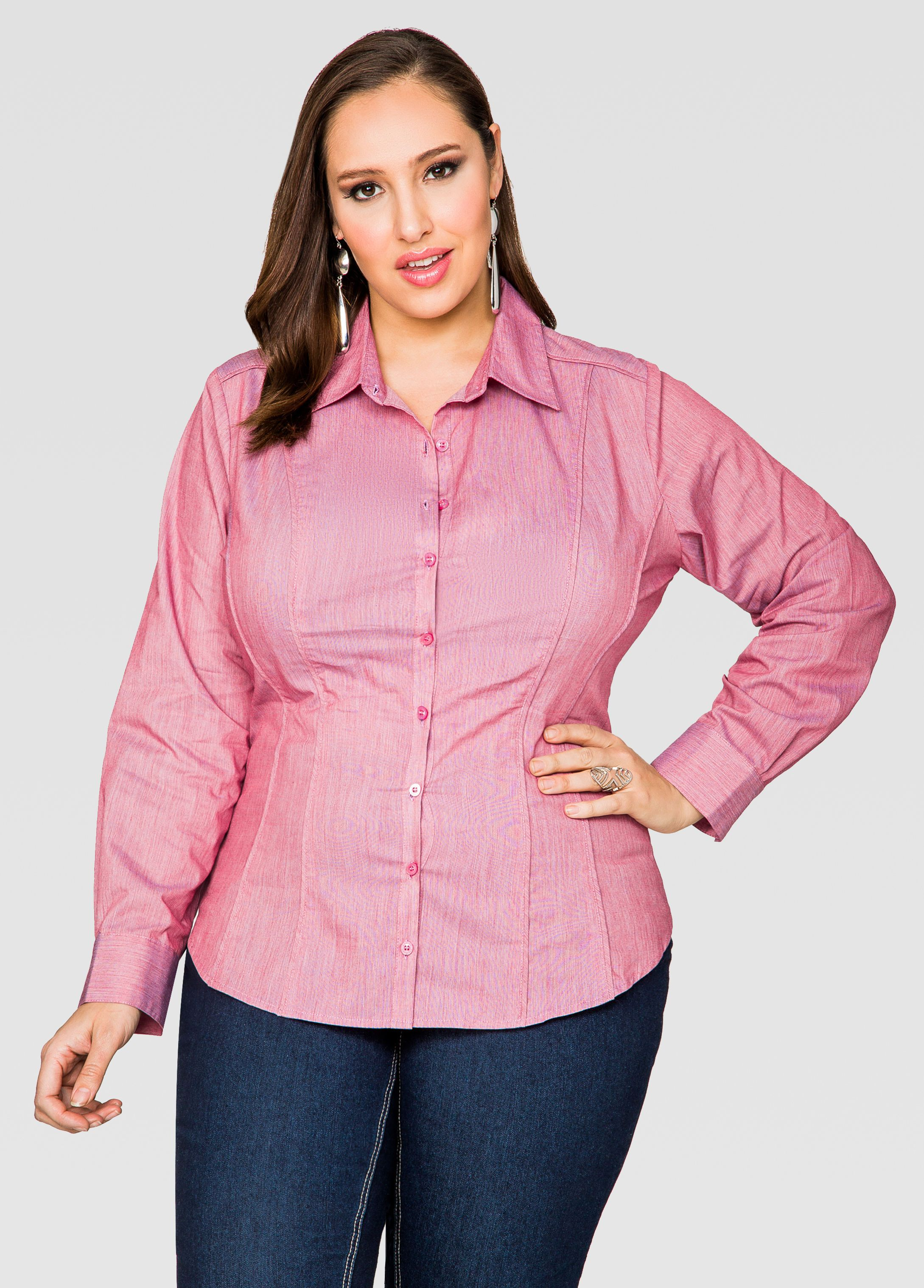 5b74112773e Piped Button Front Shirt - Ashley Stewart