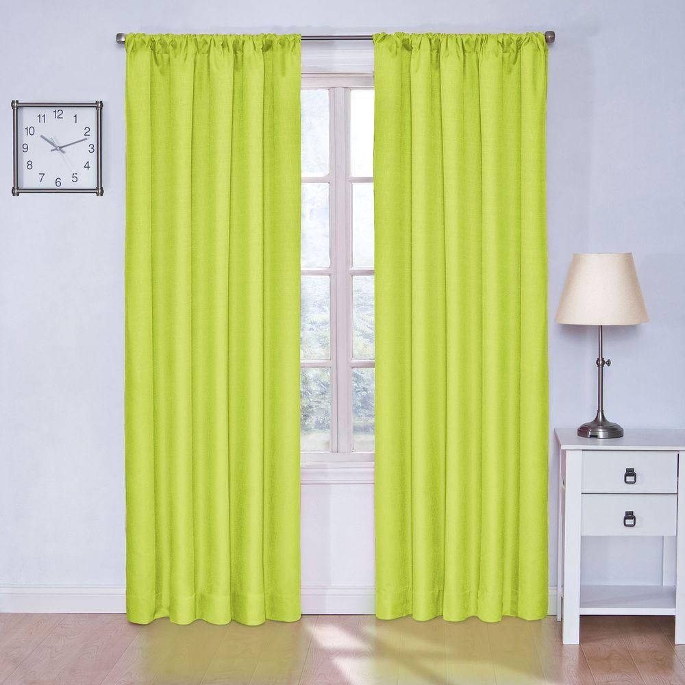 Eclipse kendall blackout lime green curtain panel 84 in length