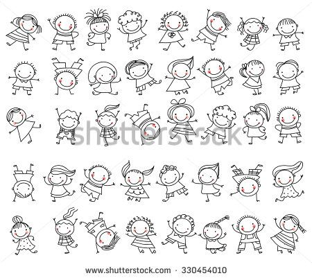 group of sketch kids stock vector - Kids Sketches