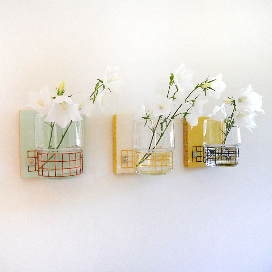 Etsy Modern Cottage Decor Wall Mount Flower Vases By Pigandfish