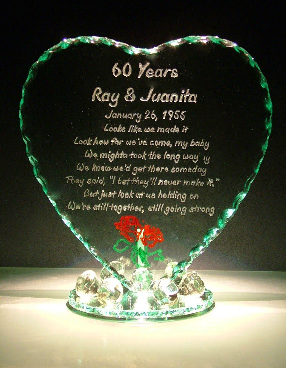New Year, New Creations Anniversary glass, 60 wedding