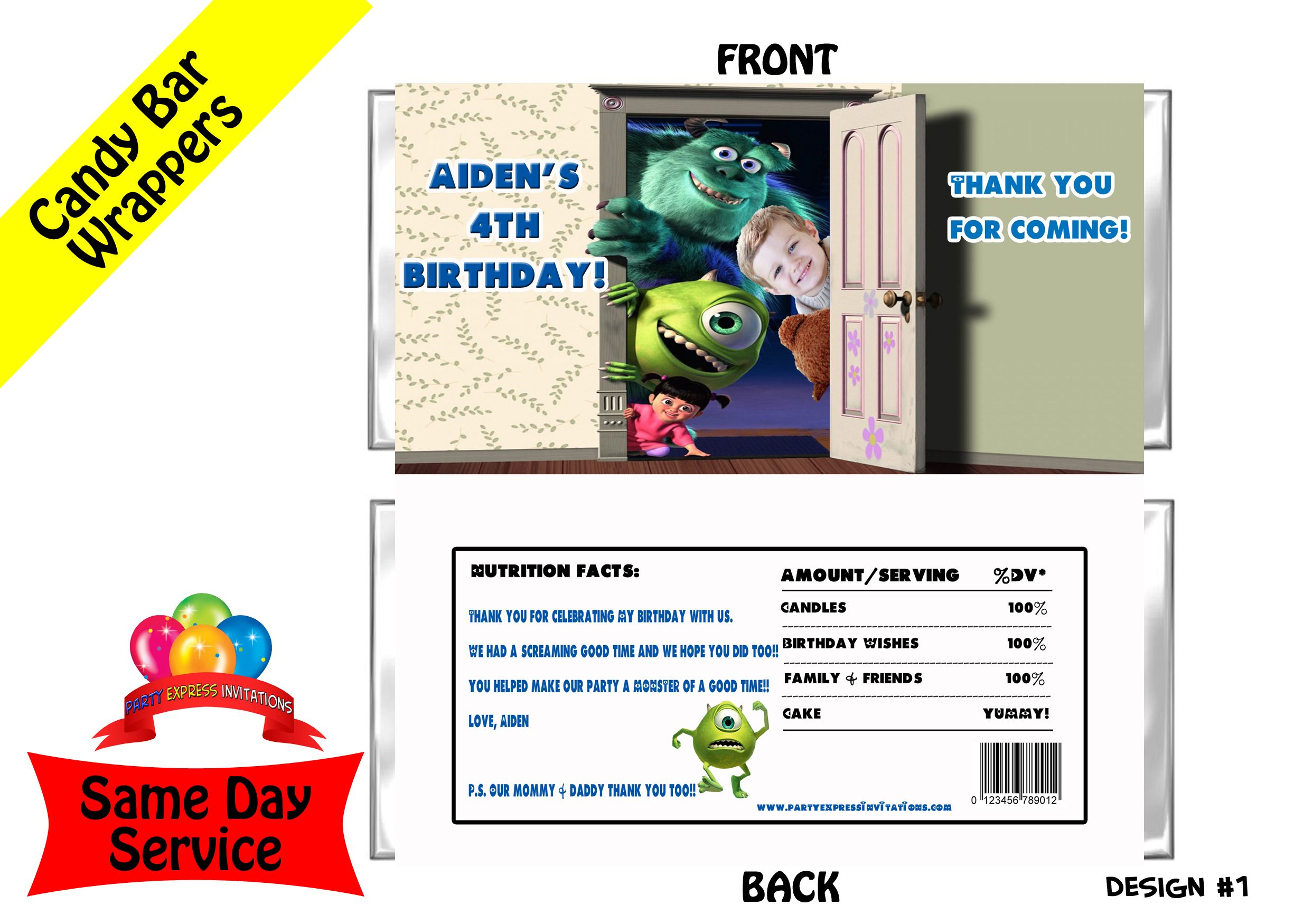 Monsters Inc Candy Bar Wrappers | Monsters Inc University Birthday ...