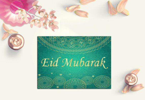 green eid mubarak card  digital eid card  gold eid