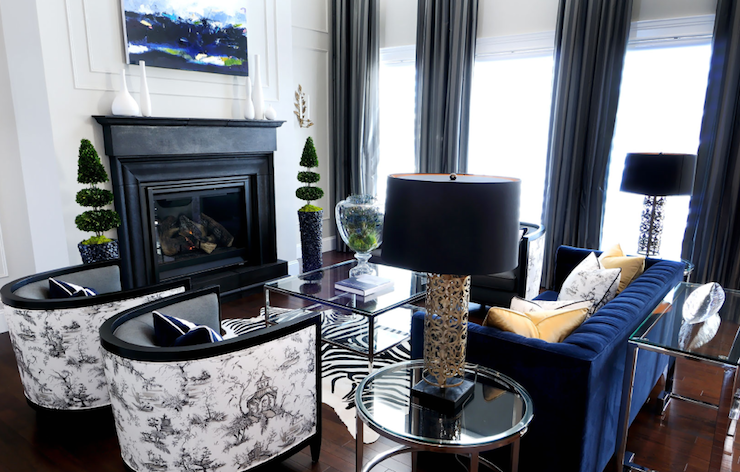 Eclectic Contemporary Living Room Design With Royal Blue Tufted