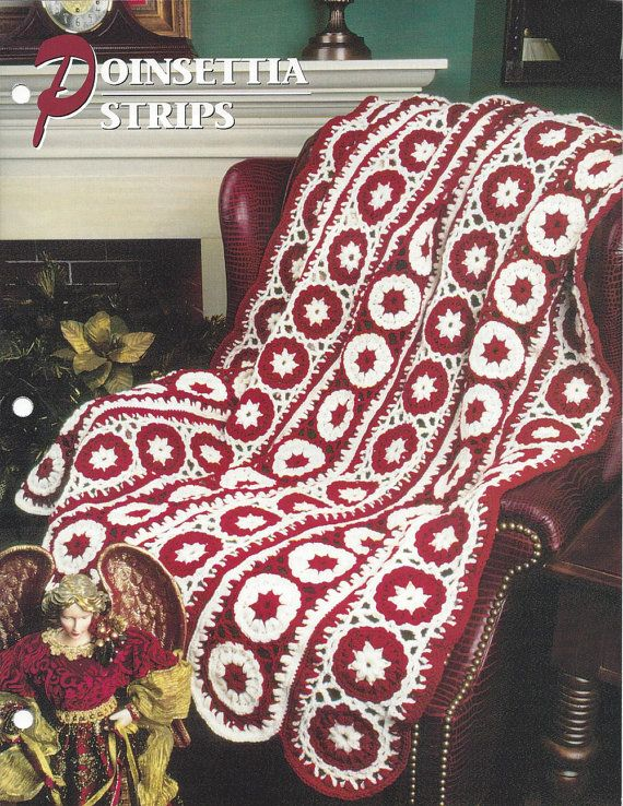 Crochet Pattern Poinsettia Strips Afghan by KnitKnacksCreations ...