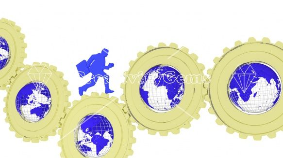 #Global #business gears with globes and businessman – CreativityGems